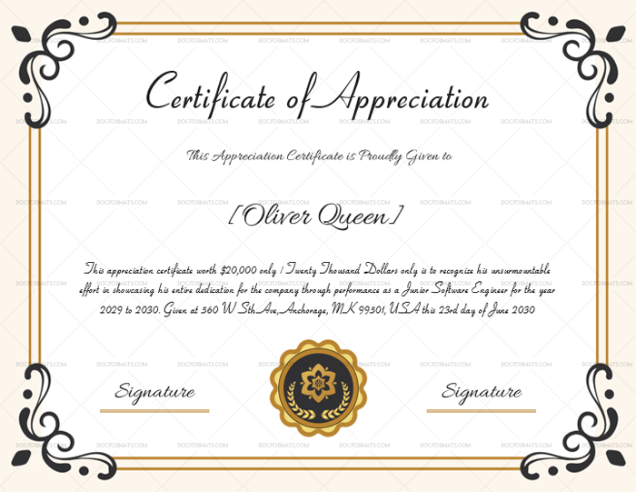 Certificate Of Appreciation For Employee - Microsoft Word in Template For Certificate Of Appreciation In Microsoft Word