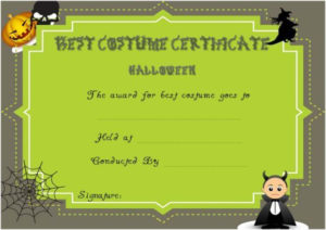 Certificate Of Appreciation For Halloween Costume with regard to Best Halloween Costume Certificate Template