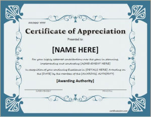 Certificate Of Appreciation For Ms Word Download At Http throughout New Honor Certificate Template Word 7 Designs Free