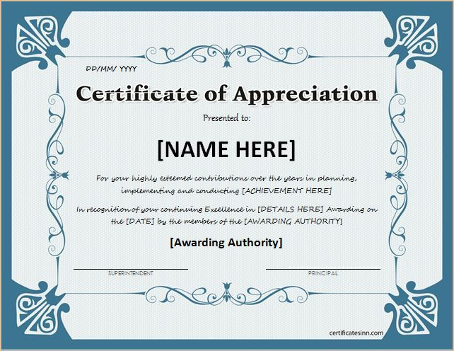 Certificate Of Appreciation For Ms Word Download At Http with regard to Template For Recognition Certificate
