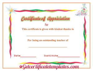 Certificate Of Appreciation For Outstanding Teaching with Teacher Appreciation Certificate Templates