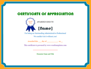 Certificate Of Appreciation   Microsoft Word Templates pertaining to Best Free Employee Appreciation Certificate Template