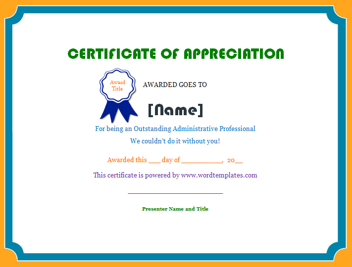 Certificate Of Appreciation | Microsoft Word Templates with regard to Unique Employee Appreciation Certificate Template