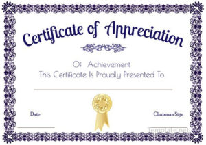 Certificate Of Appreciation Template, Certificate Of regarding Certificate Of Appreciation Template Free Printable