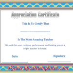 Certificate Of Appreciation Template For Amazing Teacher pertaining to Quality Teacher Appreciation Certificate Templates