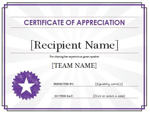 Certificate Of Appreciation Template | Free Sample Templates with New Certificates Of Appreciation Template
