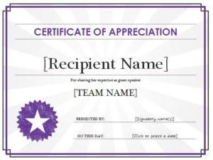 Certificate Of Appreciation Template | Free Sample Templates With Quality Sample Certificate Of Recognition Template
