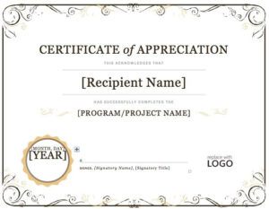 Certificate Of Appreciation Word Template    Certificate Of intended for Certificate Of Recognition Template Word