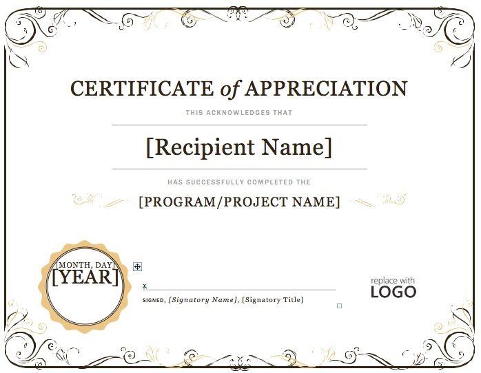 Certificate Of Appreciation Word Template  | Certificate Of with Template For Certificate Of Appreciation In Microsoft Word