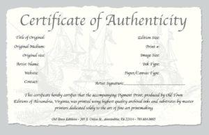 Certificate Of Authenticity A Fine Art Print Statement throughout Best Certificate Of Authenticity Templates