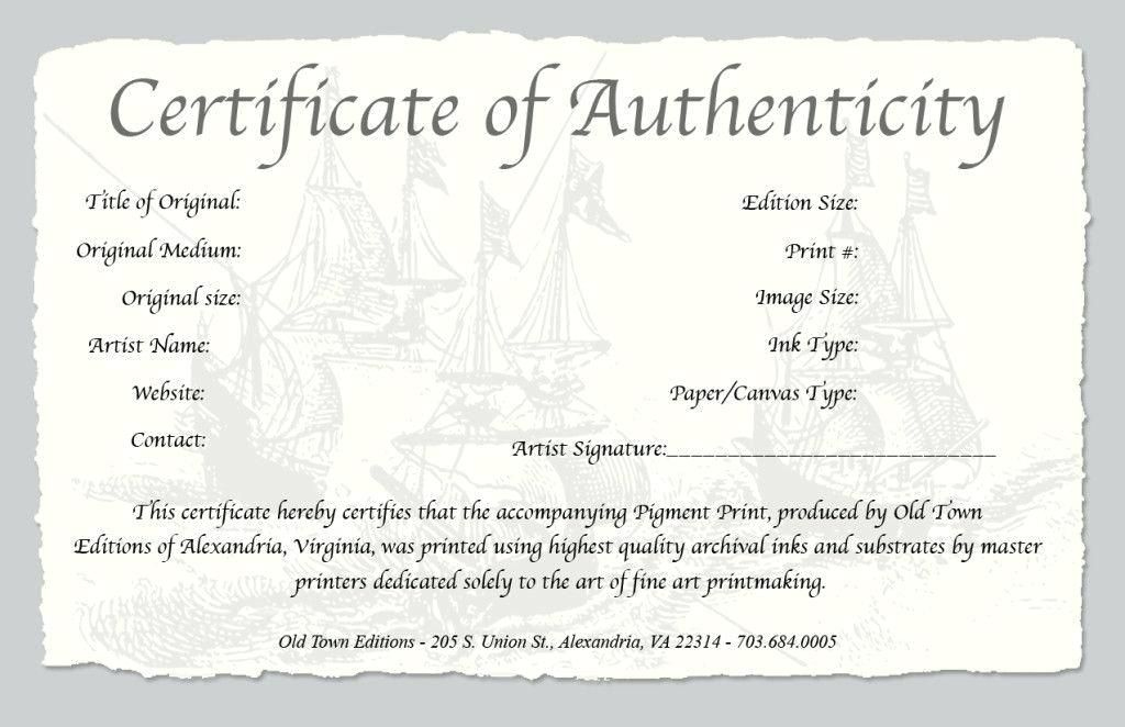 Certificate Of Authenticity A Fine Art Print Statement with Unique Authenticity Certificate Templates Free