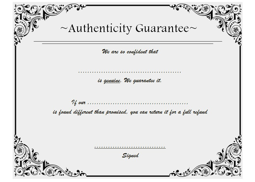 Certificate Of Authenticity Jewellery Free 2 | Two Package pertaining to New Certificate Of Authenticity Free Template