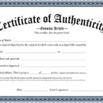 Certificate Of Authenticity Of An Original Digital Print Within Authenticity Certificate Templates Free