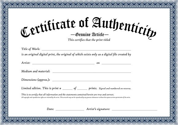 Certificate Of Authenticity Of An Original Digital Print within Fresh Photography Certificate Of Authenticity Template