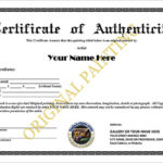 Certificate Of Authenticity Templates – Word Excel Pdf Formats With Regard To Photography Certificate Of Authenticity Template