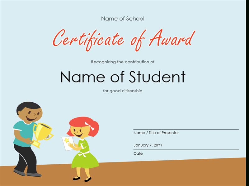 Certificate Of Award (Elementary Students) with regard to Quality Art Award Certificate Free Download 10 Concepts