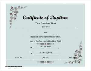 Certificate Of Baptism Printable Certificate | Certificate For Christian Baptism Certificate Template
