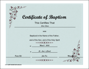 Certificate Of Baptism Printable Certificate | Certificate intended for Roman Catholic Baptism Certificate Template