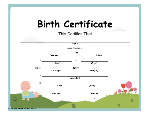 Certificate Of Birth Printable Certificate | Birth Intended For Best Baby Doll Birth Certificate Template