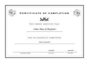 Certificate Of Completion 002 regarding Unique Landscape Certificate Templates