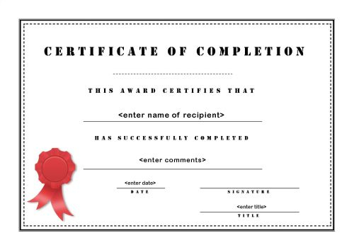 Certificate Of Completion 003 in Certificate Of Completion Word Template