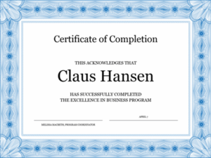 Certificate Of Completion (Blue) for Class Completion Certificate Template