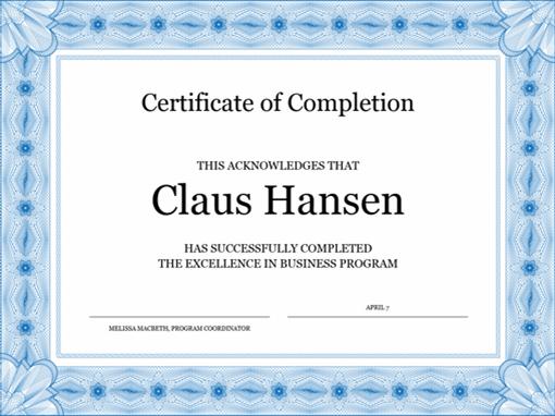 Certificate Of Completion (Blue) regarding Certificate Of Completion Word Template