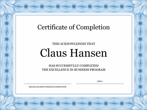 Certificate Of Completion (Blue) within Completion Certificate Editable