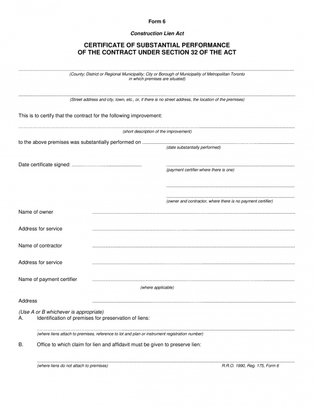 Certificate Of Completion Construction Templates (4 intended for Certificate Of Completion Template Construction