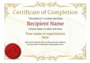 Certificate Of Completion – Free Quality Printable Templates for Certificate Of Completion Templates Editable