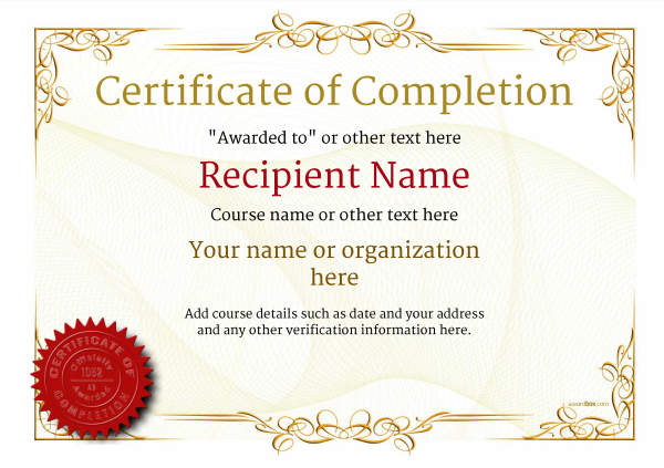 Certificate Of Completion - Free Quality Printable Templates for Certificate Of Completion Templates Editable