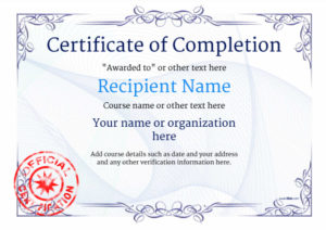 Certificate Of Completion – Free Quality Printable Templates regarding Free Training Completion Certificate Templates