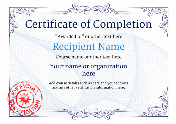 Certificate Of Completion - Free Quality Printable Templates with New Certification Of Completion Template