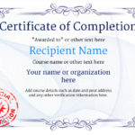 Certificate Of Completion – Free Quality Printable Templates With New Free Completion Certificate Templates For Word