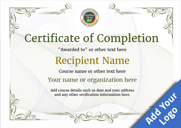 Certificate Of Completion - Free Quality Printable Templates with regard to Class Completion Certificate Template
