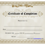 Certificate Of Completion Free Template Word | Blank Inside Certificate Of Completion Free Template Word