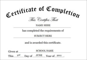 Certificate-Of-Completion-Template | Certificate Of within Free Completion Certificate Templates For Word