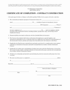 Certificate Of Completion Template Construction (5 regarding Certificate Of Completion Template Construction