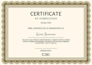 Certificate Of Completion Templates | Customize In Seconds regarding Sobriety Certificate Template 10 Fresh Ideas Free