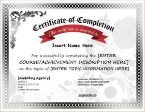 Certificate Of Completion Word Template (1) – Templates Exam in Certificate Of Completion Word Template