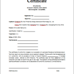 Certificate Of Compliance Template (3) – Templates Example Inside Best Certificate Of Conformity Template