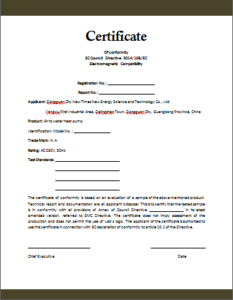 Certificate Of Compliance Template (3) – Templates Example Intended For New Certificate Of Conformity Templates