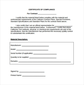 Certificate Of Compliance Template (4) – Templates Example intended for New Certificate Of Conformity Template Ideas