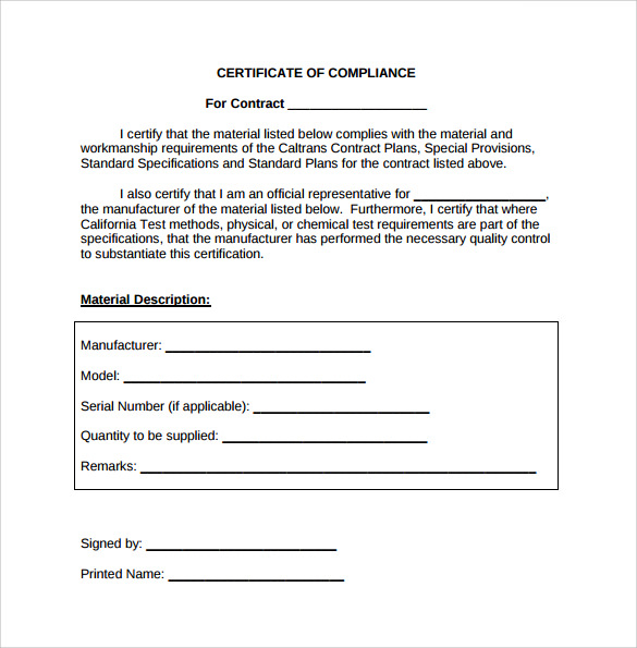 Certificate Of Compliance Template (4) - Templates Example Pertaining To Certificate Of Compliance Template