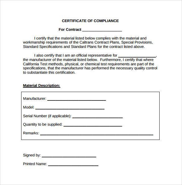 Certificate Of Compliance Template (4) - Templates Example pertaining to Certificate Of Compliance Template