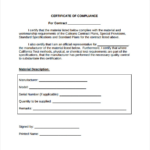 Certificate Of Compliance Template (4) - Templates Example with Certificate Of Compliance Template 10 Docs Free