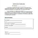 Certificate Of Compliance Template (4) - Templates Example within Certificate Of Compliance Template