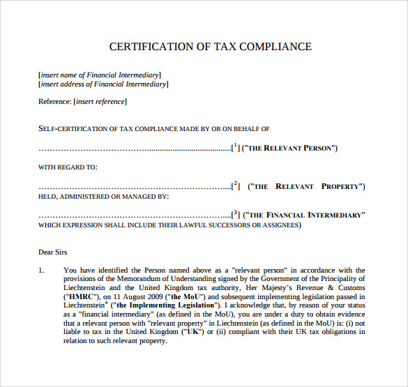 Certificate Of Compliance Template (6) - Templates Example pertaining to Fresh Certificate Of Compliance Template
