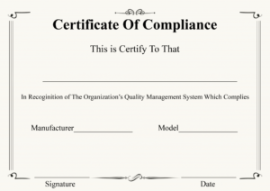 Certificate Of Compliance Template | Certificate Template for Fresh Certificate Of Compliance Template