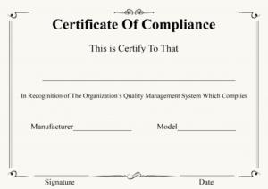 Certificate Of Compliance Template | Certificate Template within Certificate Of Compliance Template